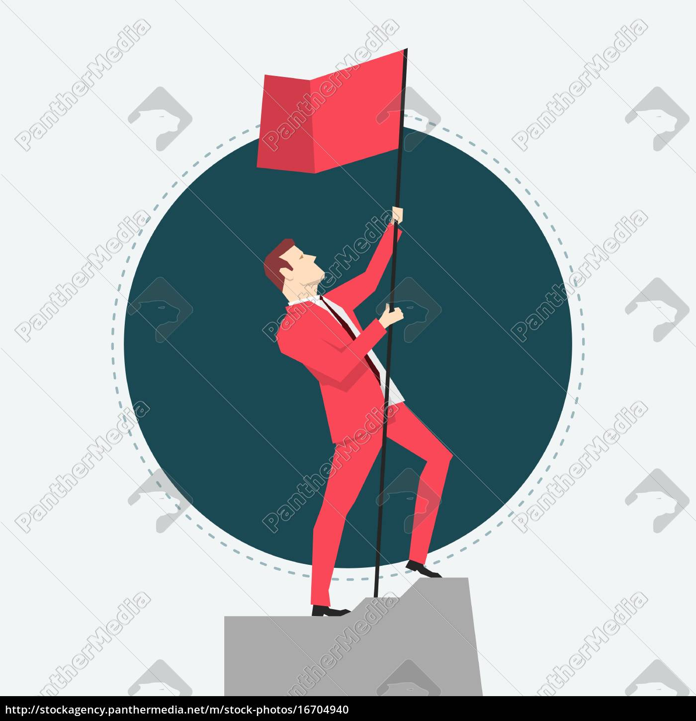 businessman, in, red, suit., victory., flat - 16704940