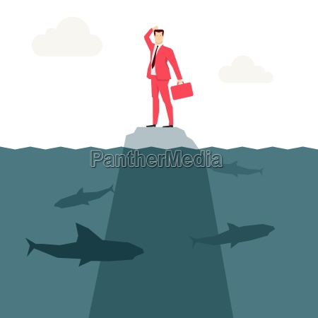 red, suit, businessman, and, sharks., vector - 16704936