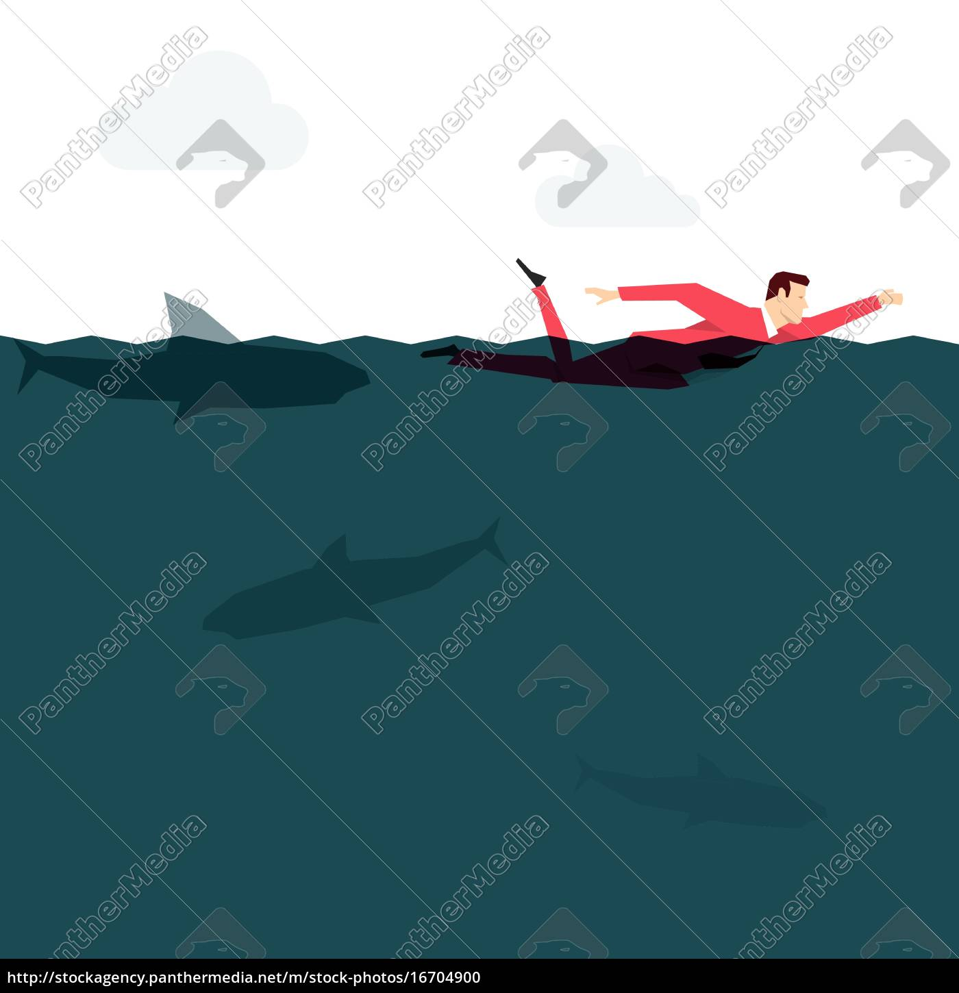 red, suit, businessman, in, the, ocean. - 16704900