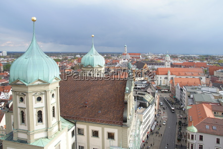 view from perlachturm in augsburg