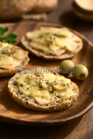 baked ham olive and cheese sandwich