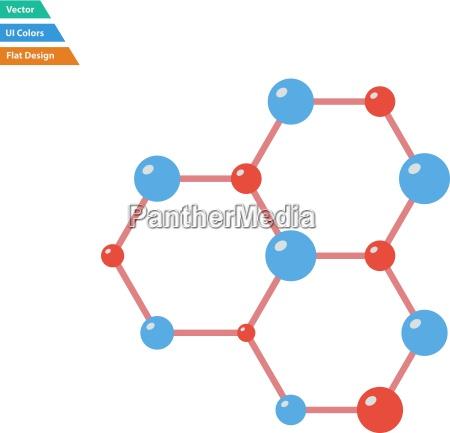 flat design icon of chemistry hexa
