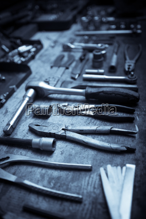 tools on wooden plank