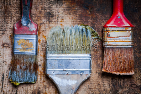 paint brushes on wooden plank
