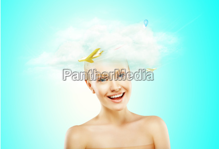 woman with a white cloud on