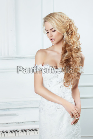 portrait of the bride with long