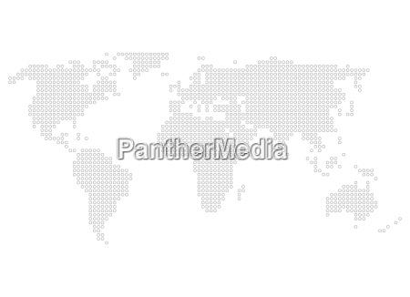 world map of grey dots