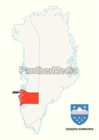 administrative map of greenland qeqqata municipality