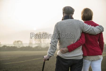 senior man and daughter in rural