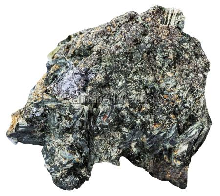 gray crystal of molybdenite on amphibole