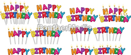colorful happy birthday text candles on