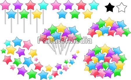 colorful stars on sticks set
