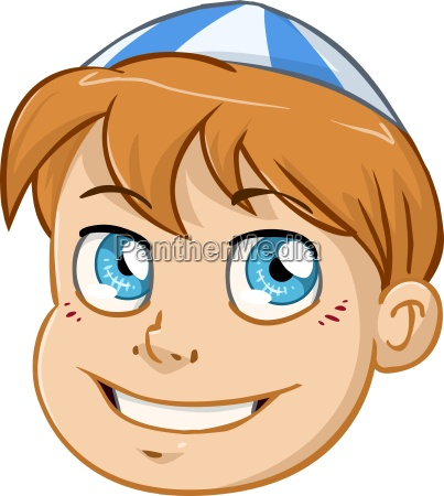 jewish boy head with blue and