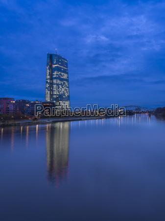 germany frankfurt river main with ecb
