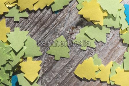 coloured paper shaped like fir trees