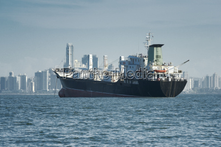 view of a large cargo ship