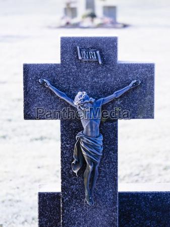 germany grave cross in winter