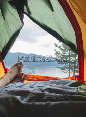 bulgaria mans leg in a tent