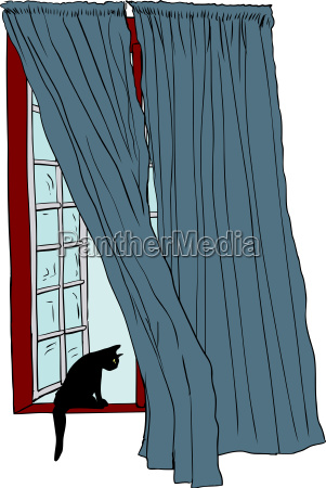 open window with black cat on