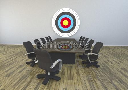 3d rendering meeting room with target
