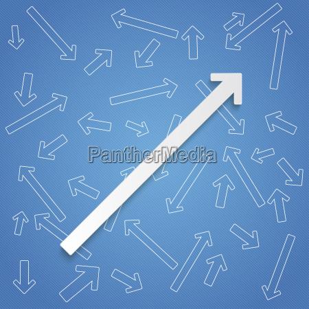 big arrow amidst small arrows vector