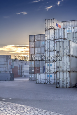 germany hamburg stacked shipping containers at