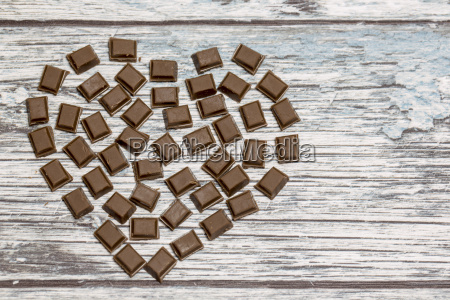 heart formed by pieces of chocolate
