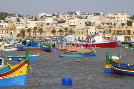 fishing boats in marsaxlokk harbor malta