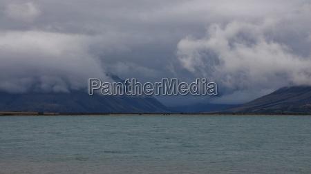 dramatic sky over lake ohau