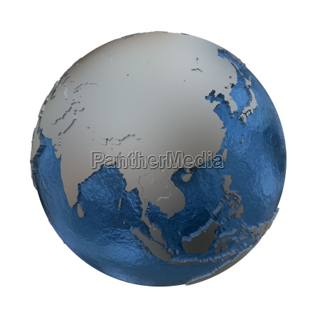 southeast asia on silver earth