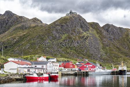 norway nordland vesteralen island fishing harbour