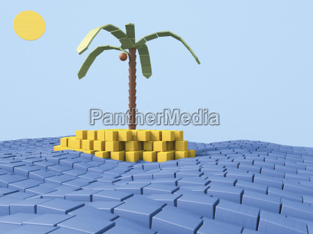 island with coconut palm made of