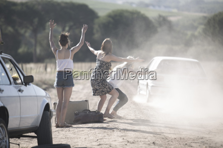 south africa friends on a road