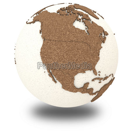 north america on light earth