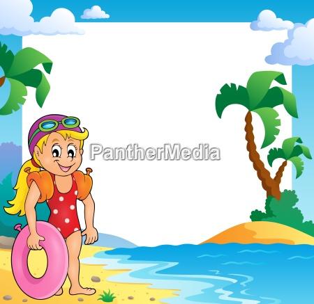 beach theme frame with girl swimmer