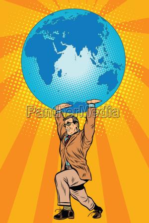 international business boss keeps planet earth