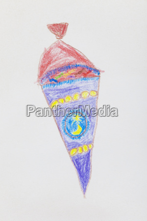childrens drawing school cone