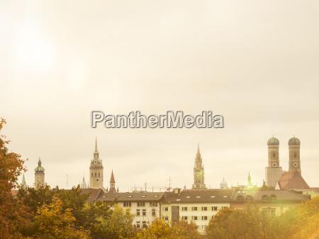 germany, , munich, , skyline, in, autumn - 16994398