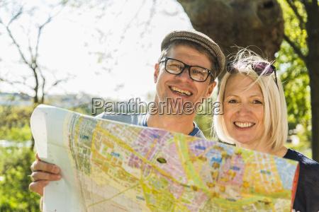 germany mannheim mature couple taking city