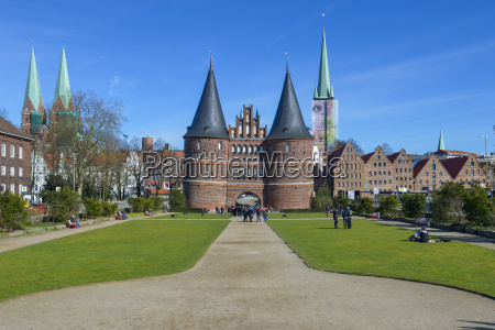 germany luebeck view to holsten gate