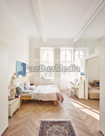 bedroom in a refurbished old building