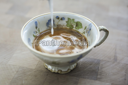 milk froth dripping into cup of