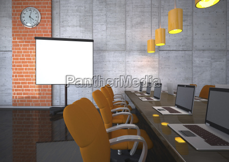 3d illustration training room with notebooks