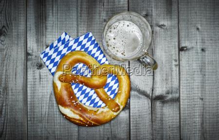 bavarian pretzel on napkin and glass
