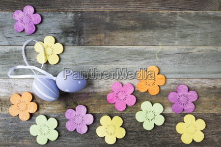 easter decorations on table