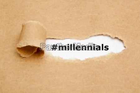 millennials torn paper concept