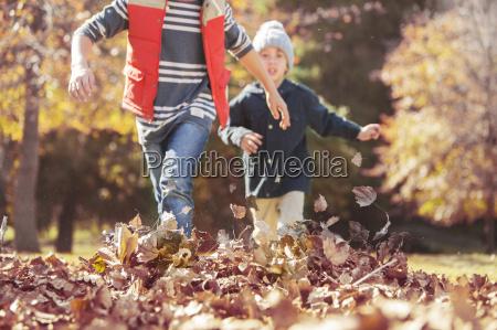 muchachos que se ejecuta en hojas