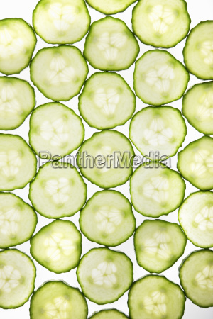 full frame of cucumber slices