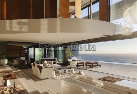 living room in modern house overlooking