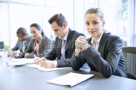 portrait of confident businesswoman in meeting